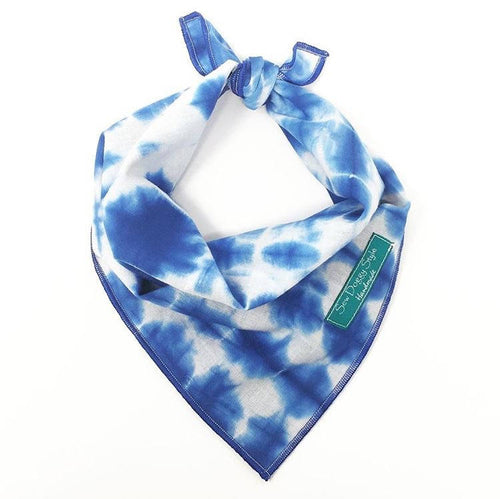 Indigo Shibori Bandana with Blue Trim, Dog Bandana, blue and white, tie dye