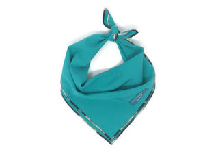 Teal Bandana with Zebra trim, Dog Bandana, solid Bandana, Black and White Ombre