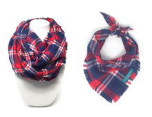 Load image into Gallery viewer, Americana Plaid Infinity Scarf with Matching Dog Bandana