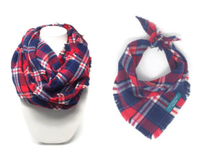 Americana Plaid Infinity Scarf with Matching Dog Bandana