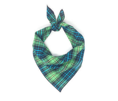 Blue and Green Dog Plaid Bandana