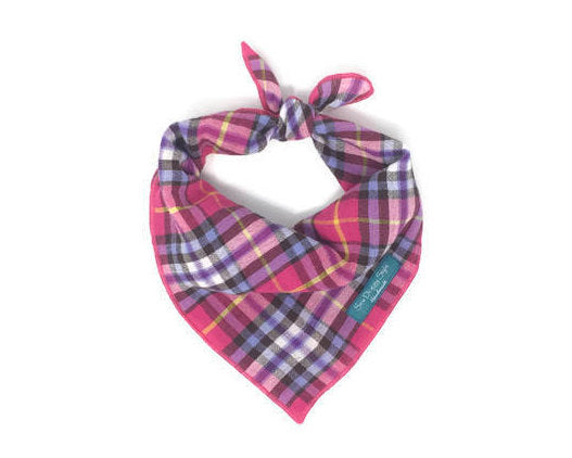 Pink and Purple Plaid Dog Bandana