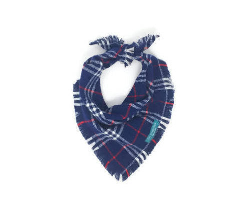 Navy Plaid Dog Bandana, Flannel Dog Bandana, Frayed Edge Dog Bandana