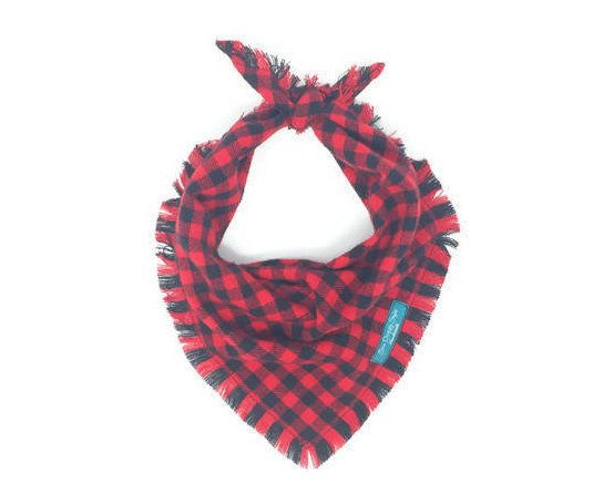 Red and Black Buffalo Plaid Flannel Fray Dog Bandana