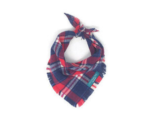 Americana Plaid Flannel Fray Dog Bandana