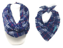Load image into Gallery viewer, Navy Plaid Infinity Scarf with Dog Bandana, Matching Pet and Owner Accessories, Navy Dog Bandana, Navy Flannel
