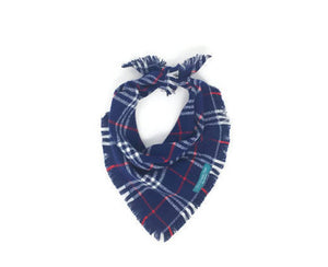 Navy Plaid Infinity Scarf with Dog Bandana, Matching Pet and Owner Accessories, Navy Dog Bandana, Navy Flannel