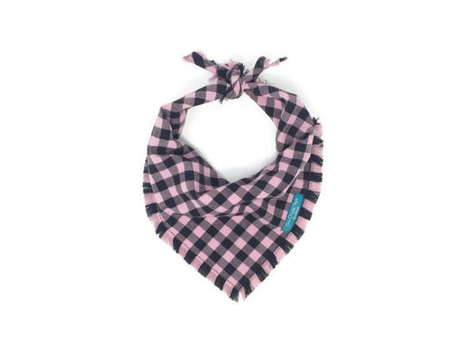 Pink and Black Buffalo Plaid Flannel Fray Dog Bandana