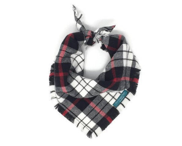 Red White and Black Plaid Flannel Fray Dog Bandana