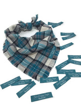 Load image into Gallery viewer, Teal Plaid Flannel Fray Dog Bandana
