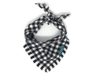 White and Black Buffalo Plaid Flannel Fray Dog Bandana