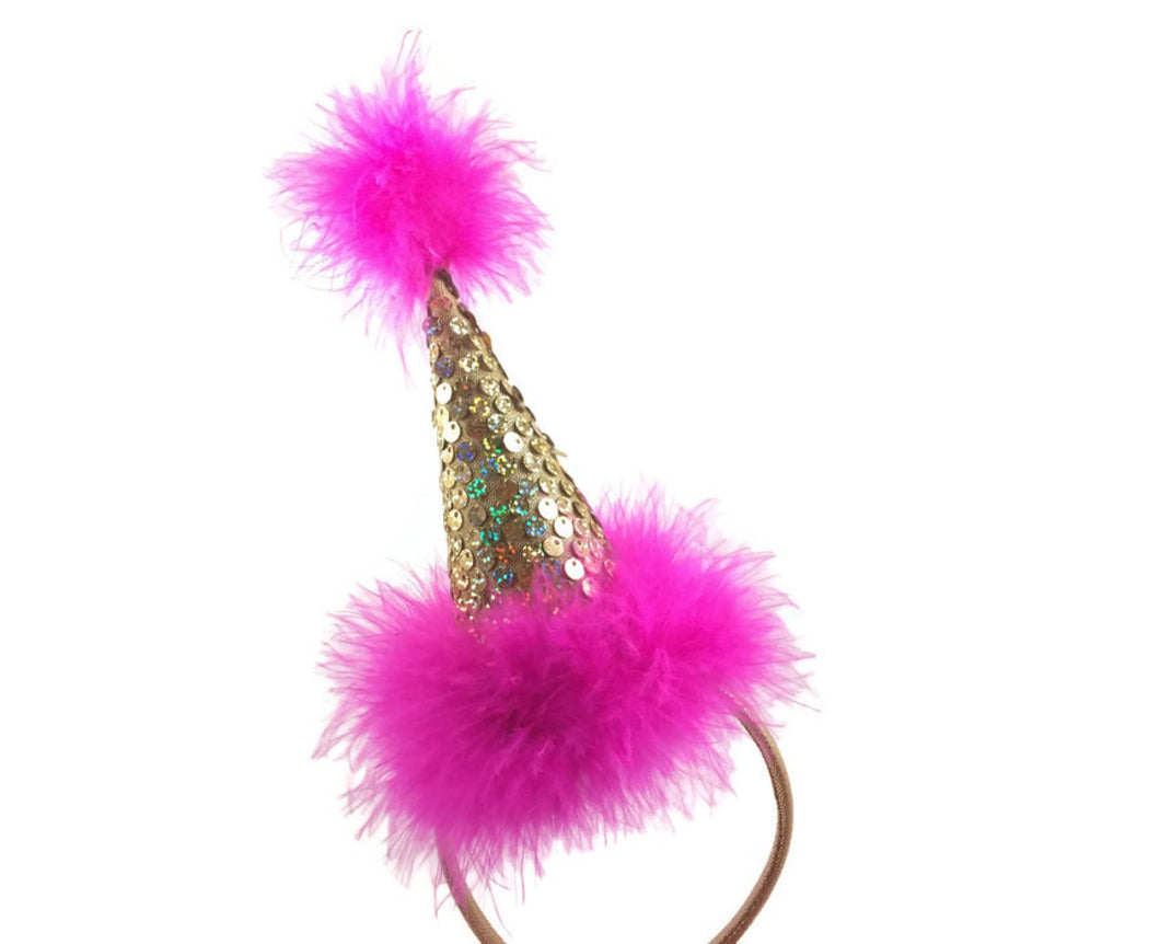 Hot Pink and Gold Party Hat on Headband