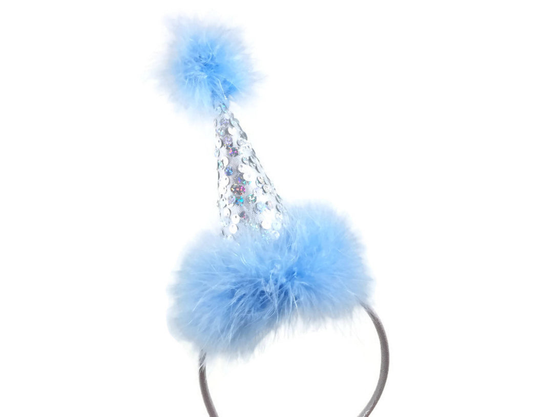 Ice Blue and Silver Party Hat on Headband, Silver Party Hat, Sequin Party Hat, Birthday Hat, Girl Birthday Hat, Headband Hat