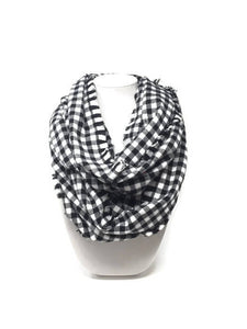 Black and White Buffalo Plaid Infinity Scarf with Dog Bandana, Matching Pet and Owner Accessories, Mini Checks, Buffalo Plaid Bandana