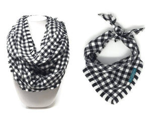 Black and White Buffalo Plaid Infinity Scarf with Matching Dog Bandana