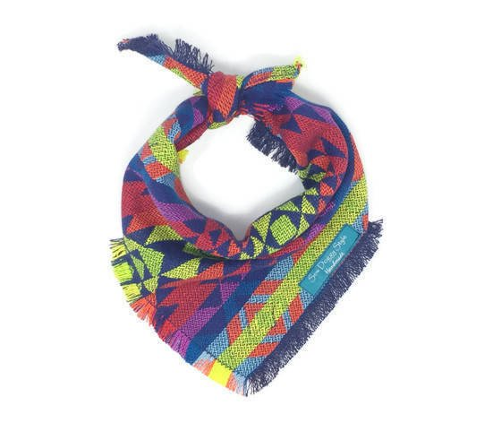 Navy Aztec Dog Bandana with Bright Accents, Plaid Dog Bandana with Fringe, Aztec Bandana, Woven Bandana