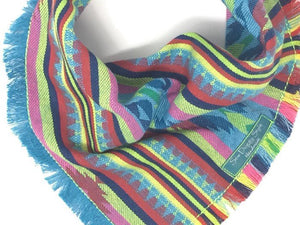 Bright Blue and Neon Yellow Aztec Dog Bandana, Arizona Dog Bandana with Fringe, Aztec Bandana, Woven Bandana