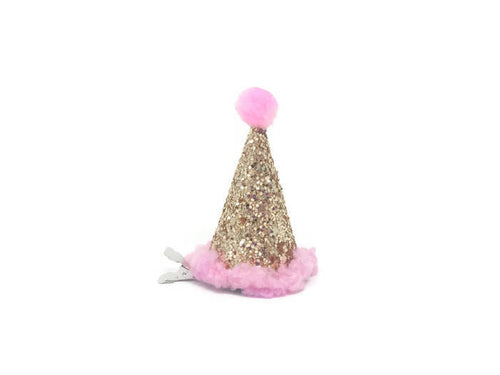 Miniature Clip On Birthday Hat, Baby Party Hat, Hair Clip, Gold Hat, Pink and Gold, Mini Hat, Glitter Accessories