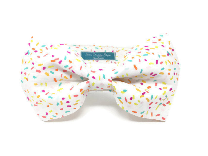 Donut Sprinkles Dog Bow Tie, Dog Bow Tie, Cat Bow Tie, Birthday Photo Props, Matching Accessories