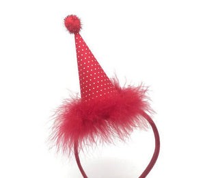 Red and White Party Hat on Headband, Strawberry Party Hat, Res Party Hat, Birthday Hat, Girl Birthday Hat, Headband Hat, Red and White Polka