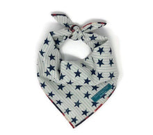 Load image into Gallery viewer, Star Spangled Bandana with Americana Trim, Dog Bandana, red white abs blue trim, bandana with stars