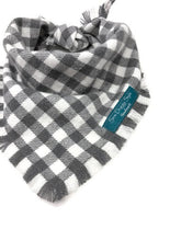Load image into Gallery viewer, Gray Areas Flannel Fray Dog Bandana