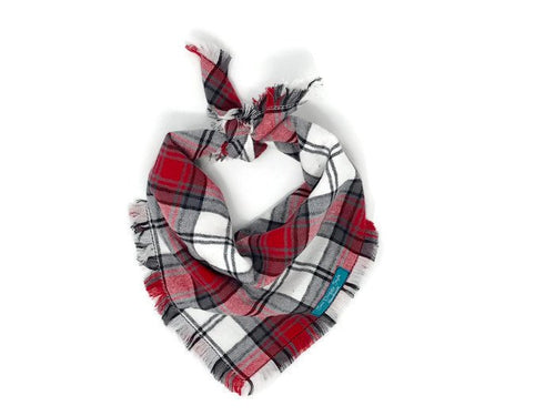 Classic Plaid Flannel Fray Dog Bandana