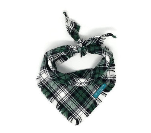 Forest Green Flannel Fray Dog Bandana