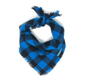 Blue Buffalo Plaid Dog Bandana with Fringe, Blue and Black Buffalo Plaid