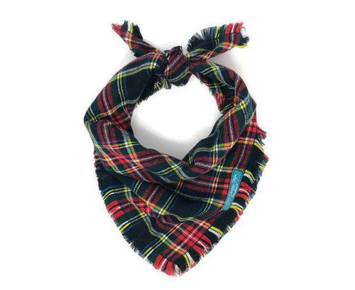 Holiday Tradition Plaid Flannel Fray Dog Bandana