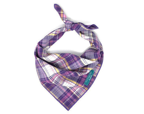 Purple and Pink Plaid Bandana, Purple Dog Bandana, Light Purple, Dark Purple, Shades of Purple