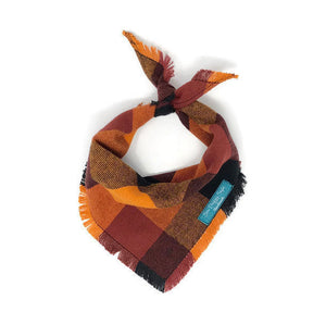 Fall Harvest Flannel Fray Dog Bandana