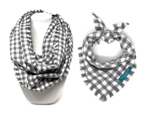 Gray Areas Dog Bandana with Matching Infinity Scarf, Matching Pet and Owner Accessories, Mini Checks, Buffalo Plaid Bandana