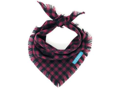 Burgundy Checkers Flannel Fray Dog Bandana