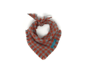 Orange Spice Dog Bandana with Matching Infinity Scarf, Matching Pet and Owner Accessories, Mini Checks, Buffalo Plaid Bandana