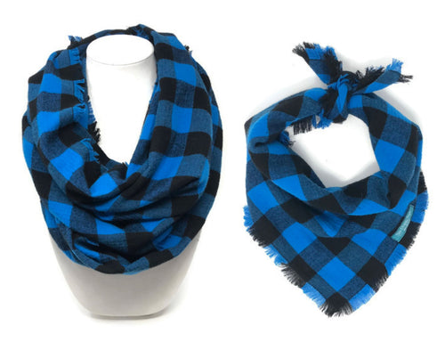 Blue Buffalo Plaid Dog Bandana and Matching Scarf