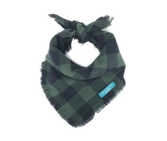 Dark Olive Buffalo Plaid Flannel Fray Dog Bandana
