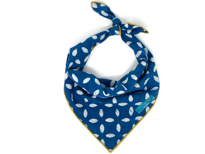 Limited Edition Indigo Shibori Bandana with Mustard Trim, Vintage Dog Bandana, blue and white, Shibori Bandana
