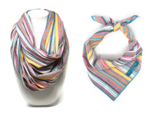 Load image into Gallery viewer, Summer Vibes Dog Bandana with Matching Infinity Scarf, Stripe Dog Bandana, Matching Dog and Owner bandana