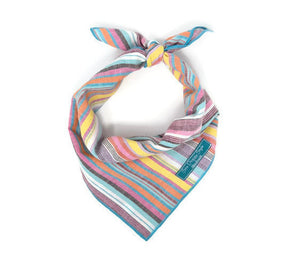 Summer Vibes Dog Bandana with Matching Infinity Scarf, Stripe Dog Bandana, Matching Dog and Owner bandana