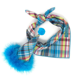 Dog Birthday Set - Bright Blue Plaid hat and Matching Bandana