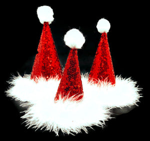 Dog Santa Hat, Santa Party Hat, Red Sequin Hat, Pet Santa Hat