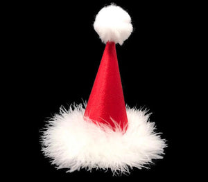 Red Satin Dog Santa Hat, Santa Party Hat, Satin Santa Hat, Pet Santa Hat
