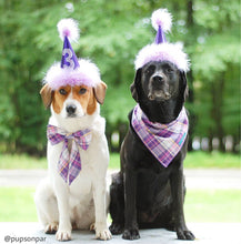 Load image into Gallery viewer, Purple and Pink Plaid Bandana, Purple Dog Bandana, Light Purple, Dark Purple, Shades of Purple