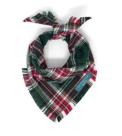 Christmas Plaid Bandana, Red and Green Dog Bandana, Green Plaid, Flannel Dog Bandana, Frayed Edge Dog Bandana