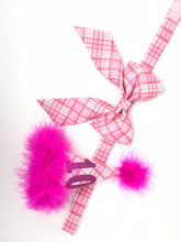 Load image into Gallery viewer, Pink Plaid Dog Bow, Birthday Photo Props, Birthday Bow, Plaid Bow with Collar