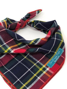 Preppy Plaid Dog Bandana, Red Bandana, Plaid Bandana, School Plaid, Traditional Plaid