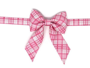 Pink Plaid Dog Bow, Birthday Photo Props, Birthday Bow, Plaid Bow with Collar