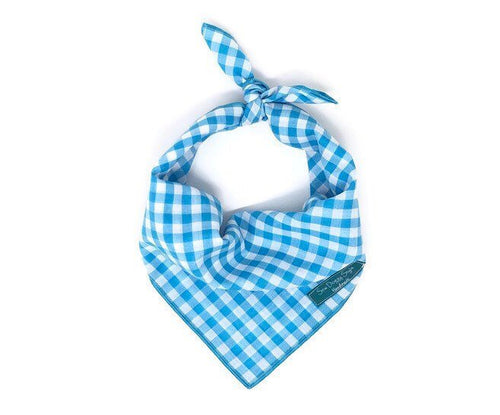 Mermaid Checkers Bandana, Aqua and White Checkers, Gingham Bandana, Dog Bandana, Bright Blue Bandana, Beach Bandana, Dog Neck Accessories