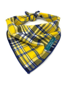 Yellow and Blue Bandana, Plaid Dog Bandana, Swedish Bandana, Yellow and Navy Accessories